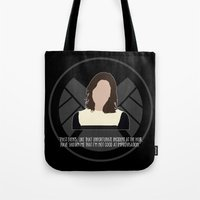 agents of shield Tote Bags featuring Agents of S.H.I.E.L.D. - Simmons by MacGuffin Designs