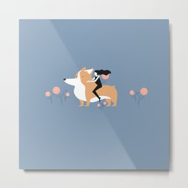 corgi ride Metal Print