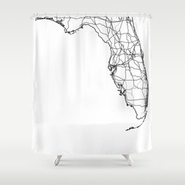 Florida White Map Shower Curtain