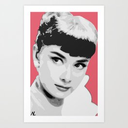 Audrey Hepburn Breakfast at Tiffany's and Roman Holiday Hollywood Icon Illustration, Pop Art Art Print