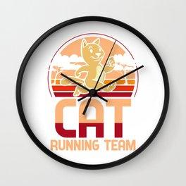 Cat running team - kittens, joggers Wall Clock