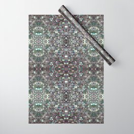 Sparkly colourful silver mosaic mandala Wrapping Paper