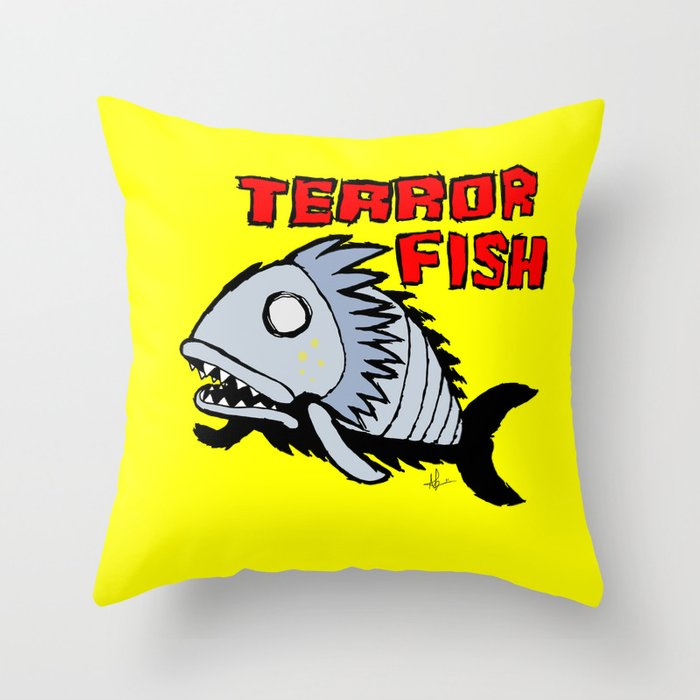 Terror fish Throw Pillow