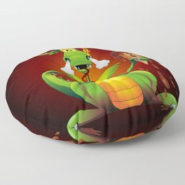 Fun Dragon Cartoon with melted Ice Cream Floor Pillow