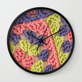 Bright Colored Granny Squares Wall Clock