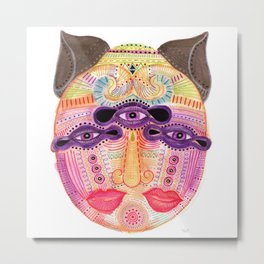 watch my lips mask Metal Print