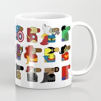 super heroes Mugs featuring Super Heroes by nobleplatypus