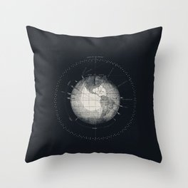 Vintage Scientific Illustration Astronomy Outer Space Black & White Schematic Diagram Throw Pillow
