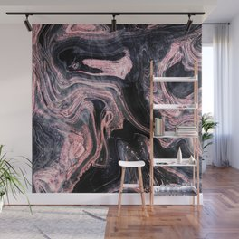 Stylish rose gold abstract marbleized design Wall Mural