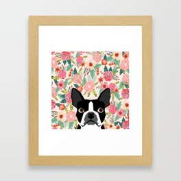 Boston Terrier floral dog head cute pet portrait gifts for boston terriers must haves Framed Art Print