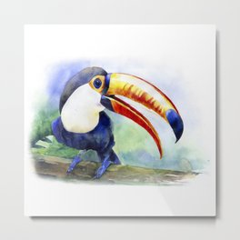 Toucan watercolor illustration, aquarelle art bird Metal Print