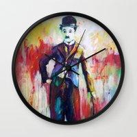 chaplin Wall Clocks featuring Charlie Chaplin by Marta Zawadzka