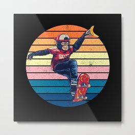 Scared Monkey Gorilla Skateboard Metal Print