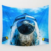 dc Wall Tapestries featuring Douglas DC-3 Aircraft by digital2real