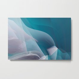 Abstract waves turquoise Metal Print