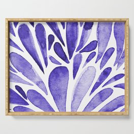 Watercolor artistic drops - electric blue Serving Tray
