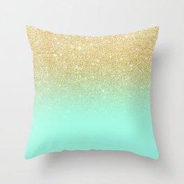 Modern gold ombre mint green block Throw Pillow