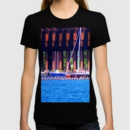 Summertime Boats In Dock T-shirt