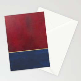 Deep Blue, Red And Gold Abstract Painting Stationery Cards