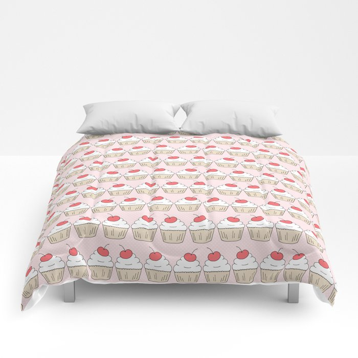 Cherry Cupcakes - Pink Doodle Pattern Comforters