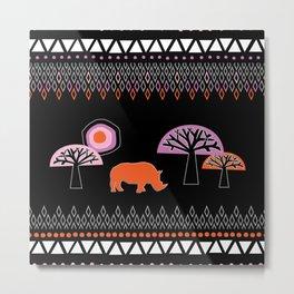 African Rhino Metal Print