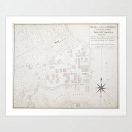 Vintage Map of New Bern NC (1769) Art Print
