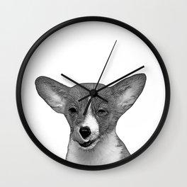 b&w winking puppy Wall Clock