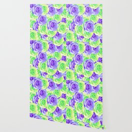 purple rose and green rose pattern abstract background Wallpaper