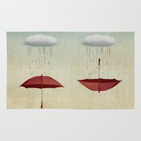karen hallion Area & Throw Rugs featuring embracing the rain by Vin Zzep