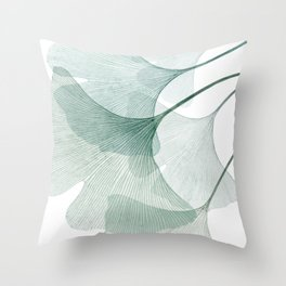 Teal Ginkgo Leaves Throw Pillow