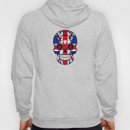 Sugar Skull with Roses and the Union Jack Flag Hoody