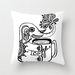 elephant loves coffee Throw Pillow