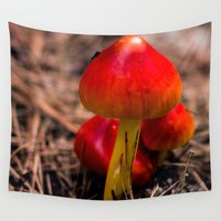 mushroom Wall Tapestries featuring Red Mushroom by Roger Wedegis