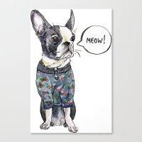 boston terrier Canvas Prints featuring Boston terrier by Bananastuff