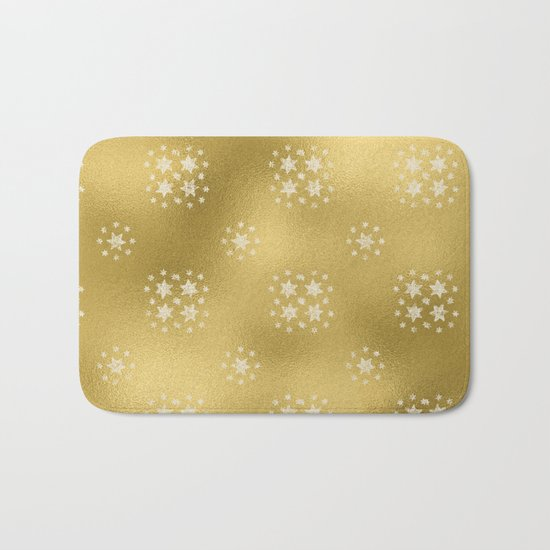 Merry christmas- white winter stars on gold pattern I Bath Mat