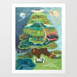 Map of Yggdrasil (Nine Worlds) Art Print