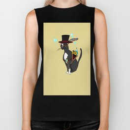 A Cool Steampunk Cat with Feather in his Hat Biker Tank