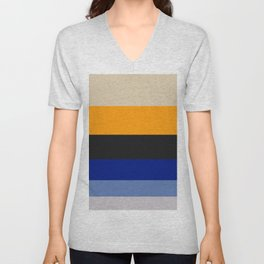 Complementary Blue & Yellow Colorful Geometric Pattern Colour Block Stripes Unisex V-Neck