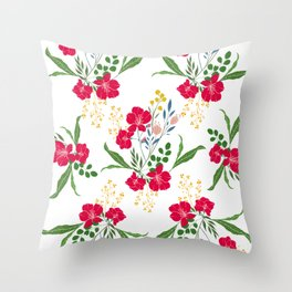 Red Tropical Flower Transparent Background Throw Pillow