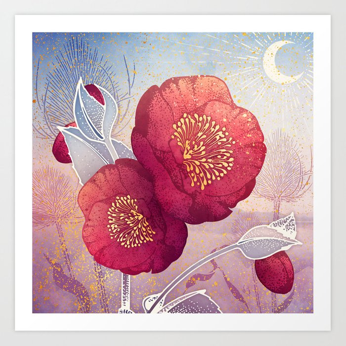 Christmas Roses :: Red Petals, Frosted Leaves Art Print
