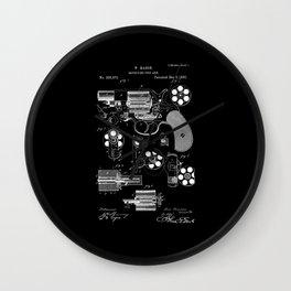 1881 Revolver Patent - White on Black Wall Clock