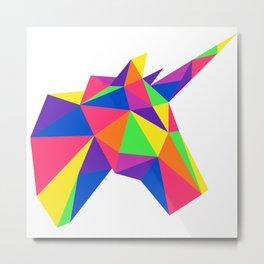 Rainbow Unicorn Geometric Design Metal Print