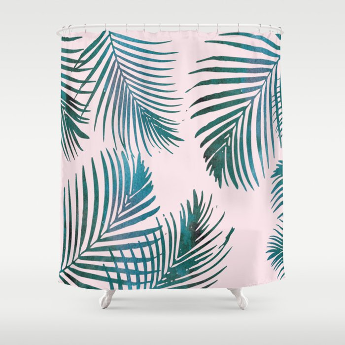 Green Palm Leaves on Light Pink Shower Curtain by naturemagick ...