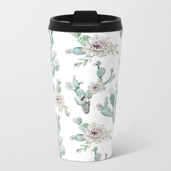 Cactus Pretty Pink + Green Metal Travel Mug
