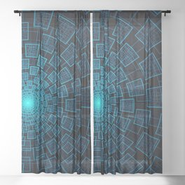 Circular Abstract Fractal Pattern Sheer Curtain