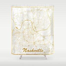 Nashville Map Gold Shower Curtain