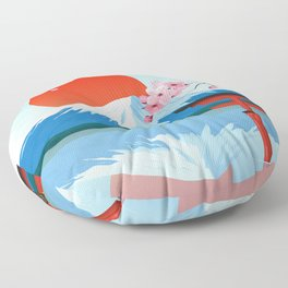 Japanese Landscape Illustration Floor Pillow