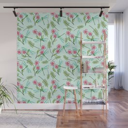 Summer Walks in The Woods Dragonfly and Flowers Pattern Wall Mural