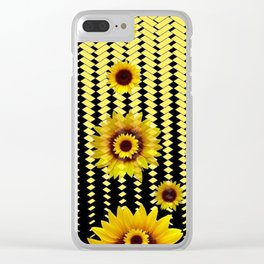 YELLOW SUNFLOWERS BLACK ABSTRACT PATTERNS ART Clear iPhone Case