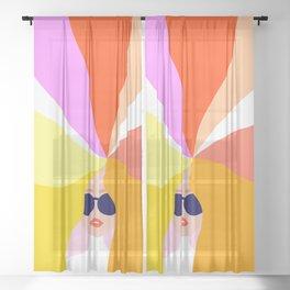 Girl Power - Rainbow Hair #girlpower Sheer Curtain